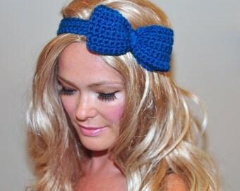 Bow Headband Blue Headwrap CHOOSE COLOR Royal Blue Crochet Headband Girly Cute Adjustable Gift under 25