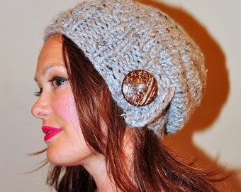 Slouchy Hat Slouch Beanie  Button Hand Knit Winter Adult Teen Wool CHOOSE COLOR  Gray Marble Grey Wood Earth Neutral Chunky Gift under 50