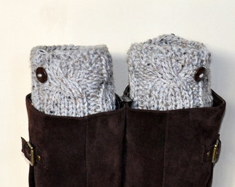 BOOT CUFFS Socks Button Leg Warmers  Gray Marble Grey Cozy Earth Neutral Forest Nature Knit Gift under 50