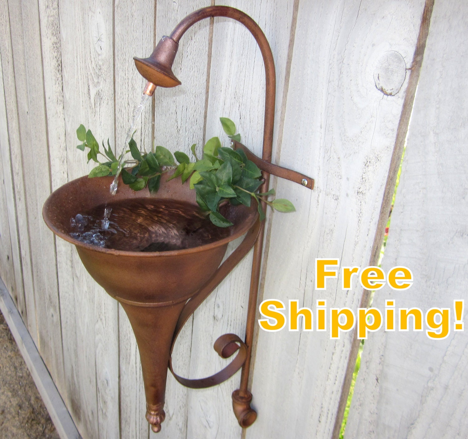 Outdoor Wall Sconce Half Sun And Details Rustic Light: Faucet Spout SOLAR Wall Hanging Water Fountain By