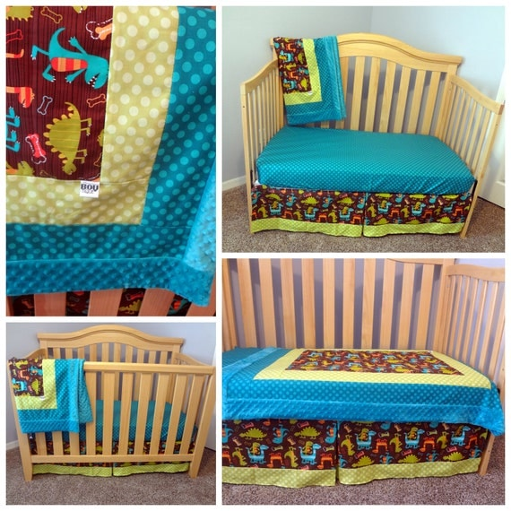 Items Similar To Michael Miller Dino Dudes Crib Skirt And Sheet Set Custom Crib Bedding Made To Order On Etsy