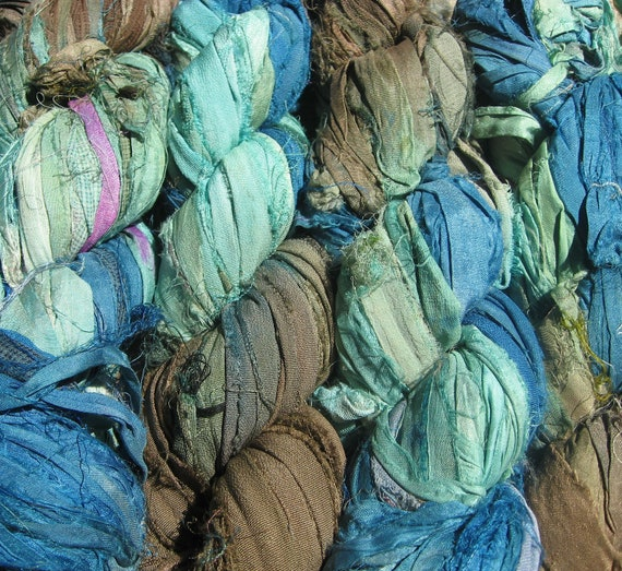 SALE - Recycled Sari Silk Ribbon -  Sand And Sea