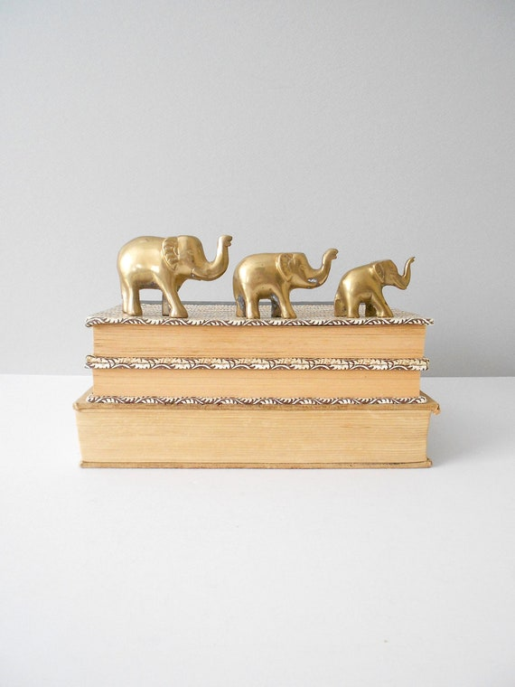 Set of 3 Brass Metal Elephant Figurine Paperweights