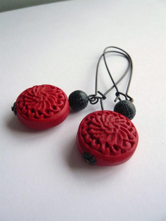 Cinnabar Earrings - Red and Black - Crackle Agate - Long Dangle
