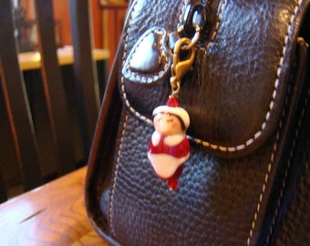 Thanksgiving Beaded Charm Pilgrim Woman Bead Charm  Lampwork Glass Pilgrim with Red Swarovski crystal - HO0022