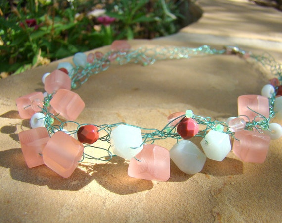 Minty chunky crochet wire necklace - Amazonite, frosted pink cubes, white lampwork glass on seafoam wire