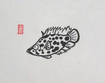 Leopard Ctenopoma - Mini Fish Lino Print