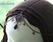 Deep Purple Crystal and Pearl Antiqued Copper Gypsy Renaissance or Medieval Head Jewelry Chain