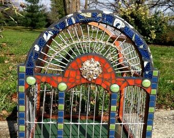 mosaic round top bird cage