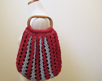 Red & Silver Bamboo Strap Tote