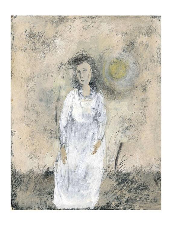 original painting  figurative ANNA woman paper