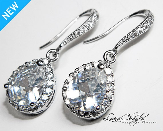 Wedding Earrings Cubic Zirconia Sterling Silver Pear Shape Sparkle Bridal Jewelry FREE US Shipping