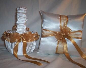 White Satin With Gold  Ribbon Trim Flower Girl Basket And Ring Bearer Pillow Set 2