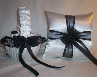 White Satin With Black Lace And Ribbon  Trim Flower Girl Basket And Ring Bearer Pillow Set 2