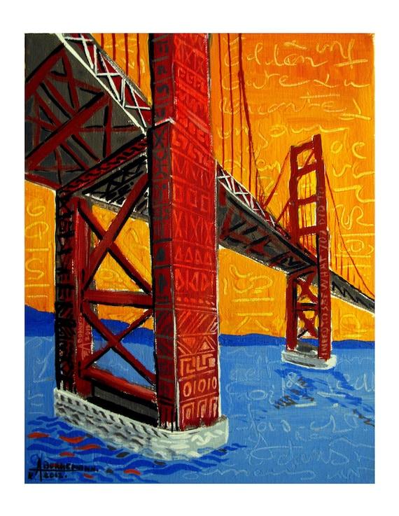 Under the Bridge, Sunset, Golden Gate Bridge, Abstract Fantasy San Francisco Mixed media Original Artist Print, Free Shipping in USA.