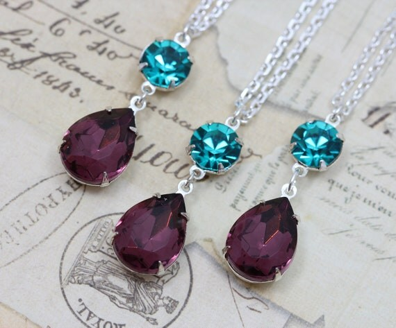 "Peacock Wedding Jewelry Necklace Bridesmaids Matching - Teal & Purple Amethyst Vintage Glass Silver 16"" Chain"
