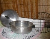 "Antique Bun Warmer, ""Lustre"" Aluminum with a Wire Basket"