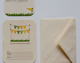 Blank 'Baby Banner' Baby Shower Invitations - Set of 8