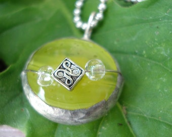 Recycled Iridescent Yellow Glass Bauble with Silver accent Jewlery Free US Shipping
