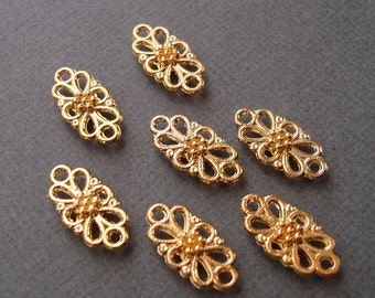 10pcs-Pendant, Charm Connector Flower   Gold 8x16mm.