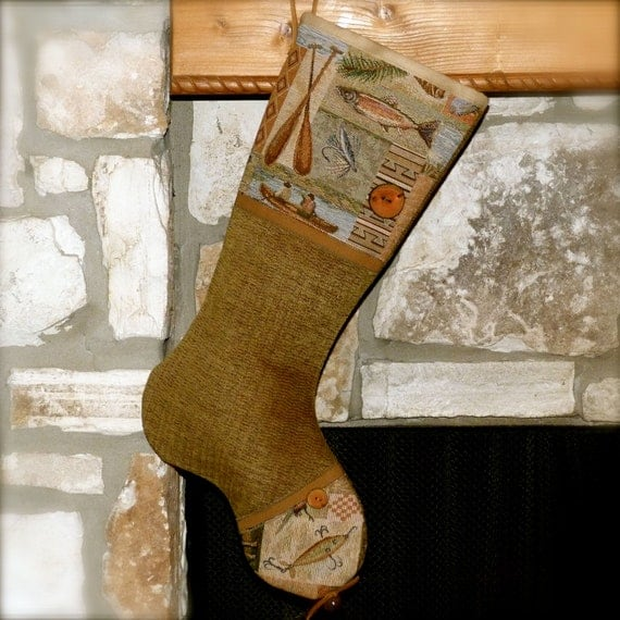 Reserved for judith fishing christmas stocking blue for Fish christmas stocking