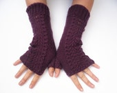 Purple Fingerless lace gloves / womens mittens hand knitted in aubergine wool