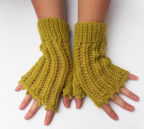 Citrus fingerless gloves , Clearance Sale , hand knit winter casual lace gloves ,  gift for her , mothers day gift , party gloves