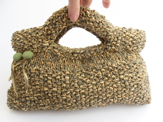 """Clutch Purse Bag Spring Green & Yellow , Hand knitted in moss stitch , fully felt lined . 10"""" wide x 5.5"""" tall"""