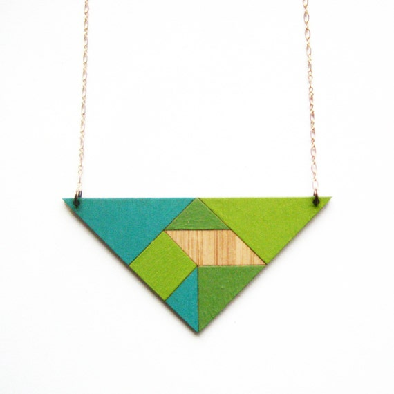 Tangram necklace / triangle / turquoise & grass green