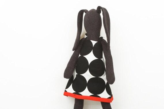 Hip  Dark Soft bunny Wearing   white Dotted Black dress - handmade fabric doll f
