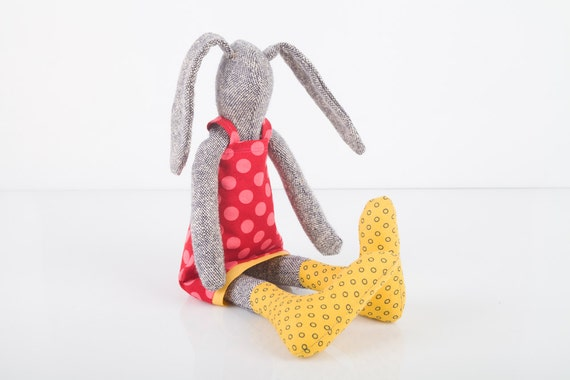 Plush Gray  rabbit made from knitted pure silk , wearing  red burgundy dress dotted pink and yellow socks , timo- handmade fabric doll
