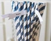 25 Navy Blue paper Straws, CLEARANCE Navy Striped Straws, Cake Pop Sticks, Vintage Wedding, Rustic Wedding, Baby Shower, Birthday,