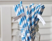 25 Blue Paper Straws Striped Retro Vintage Style Carnival Circus Wedding Kids Birthday Bridal Baby Shower W/ Printable Flags I Created