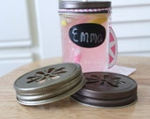 12 Mason Jar Daisy Lids for Tumblers Cups Glasses Table Setting Daisy Cut Lid Birthday Wedding Baby Shower Favors RUSTIC BRONZE