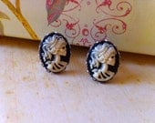 Gothic Ivory Lolita Skeleton Cameo Cufflinks - Victorian Day of the Dead Zombie