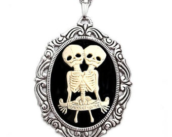 Halloween Jewelry - Conjoined Twins Cameo Necklace