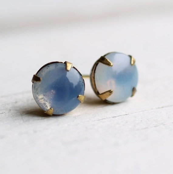 Grey Opal Earrings ... Glass Moonstone Smokey Blue Cloud
