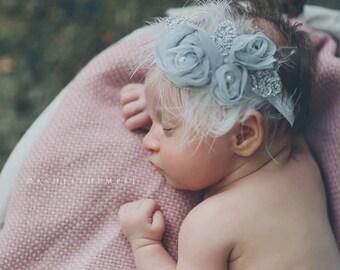 Baby headband, newborn headband, adult headband, vintage headband, chiffon and photography prop The triple sprinkled- Chiffon Rosie headban