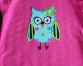 SALE - Hoot Owl Appliqued Shirt Size 12 Months - Ready to Ship