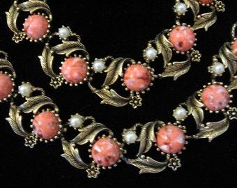 Vintage Coral Pink Cabochon w/ Faux Pearl Necklace and Bracelet Set