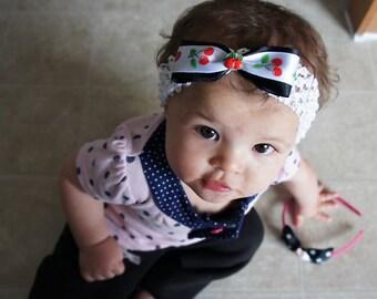 Olivia Paige - Rockabilly punk rock pin up cherries infant/HEADBAND