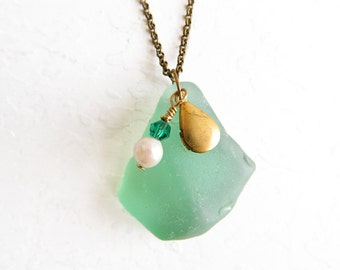 Teal Sea Glass Locket Necklace