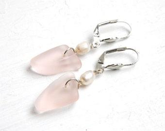 Faux Pink Sea Glass Leverback Earrings, Freshwater Pearl Earrings, Eco Friendly Jewelry