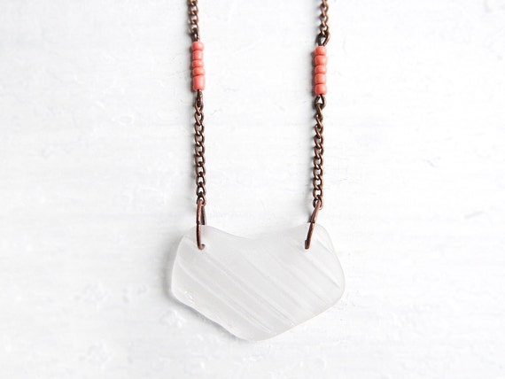 Sea Glass Necklace - Textured White Chesapeake Bay Seaglass Jewelry - Chevron Copper - Vintage Coral Beads