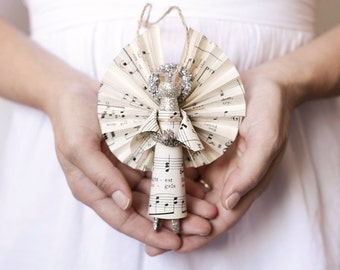 Clothespin Angel - Handmade Ornament made with Vintage Sheet Music