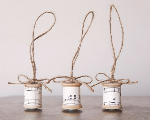 Sugared Spools - Collector's Delight Ornaments, made with Vintage Sheet Music, Wooden Thread Spools, and Twine