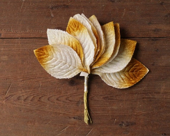 Vintage Velvet Millinery Leaves - Autumn Ombre, Variegated Yellow Leaf Bunch, Lot of 12 Leaves