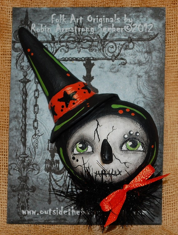 Primitive Folk Art Doll PIN brooch WITCH ghost  skelly Halloween no.4