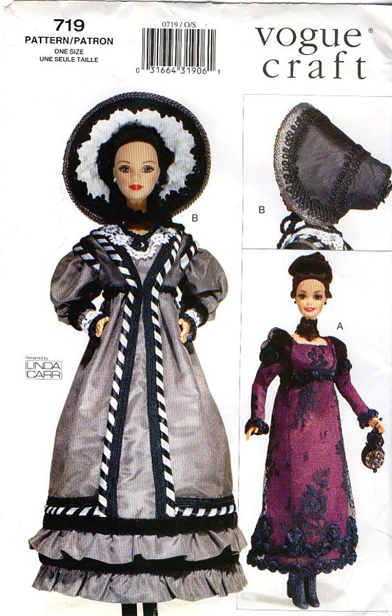 "Vogue 719 Historical c.1820-1830 Clothes for Fashion Barbie 11.5"" Doll by Linda Carr Sewing Pattern - Uncut"