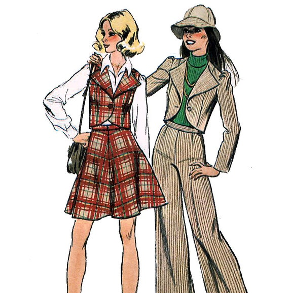 Simplicity 6511 Vintage 70s Junior or Teen Unlined Jacket or Vest, Pants and Short Skirt Sewing Pattern - Uncut - Size 11/12 - Bust 32